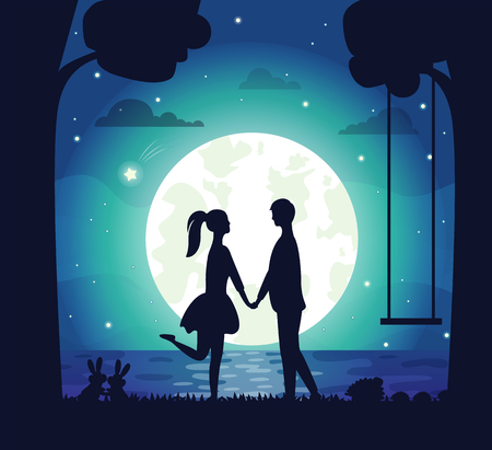 Couple having date at night vector, man and woman holding hands standing on bank of lake. Big moon and shining stars, rabbit in grass, tree silhouette