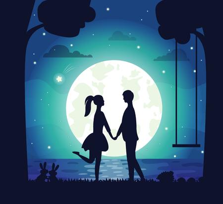 Pareja teniendo cita en el vector de la noche, hombre y mujer tomados de la mano de pie en la orilla del lago. Gran luna y estrellas brillantes, conejo en la hierba, silueta de árbol