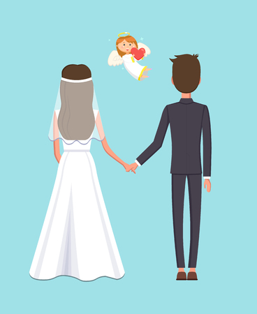 Angelic child with heart and wings vector, man and woman at wedding. Couple getting married, cupid with halo, bride and groom holding hands of each other
