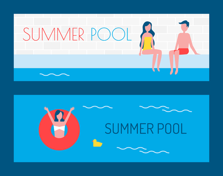Summer pool posters with text and people on vacation chilling in water. Woman in lifebuoy lifeline waving hands couple on poolside summertime vector