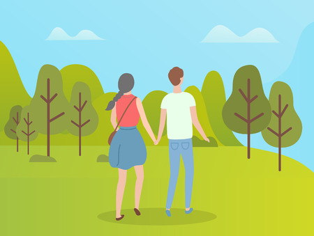 People in green forest man and woman back view. Vector girl with braid and boy in green t-shirt, teenagers holding hands walking among trees in spring