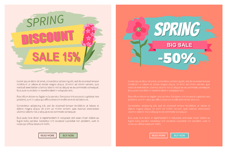 Sale, discount and best offer, label for springtime promotion and advertising, daisy bouquet. Advertisement decorated by flowers, greeting for ladies vector. Website with links buy and read now Ilustração