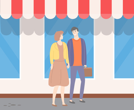 Couple walking outdoors along window showcases in city. Vector man and woman holding hands. Male and female in love, guy with suitcase, lady in dress