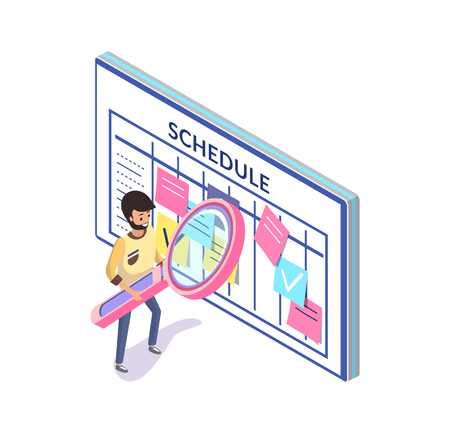Time management and schedule, organizer or calendar vector. Business planning and timetable, notes and man with magnifier, events and affairs, productivity