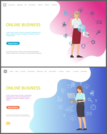 Online business workers with laptops and devices for dealing with working tasks vector. Businesswoman with global info interaction with world network