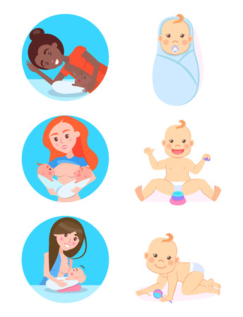 Breastfeeding concept, vector multinational woman feeding children by own milk. Vector baby milestones from 1 to 12, playing with blocks and rattle