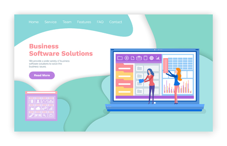 Business software solution vector, digital applications. Laptop with infographics infocharts, diagrams website or webpage template, landing page flat style