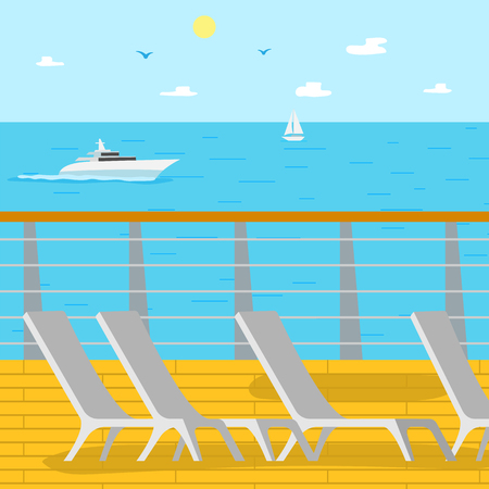 Vacation in summer vector, place for tourists to lay and relax, sunbathing. Summertime holidays and relaxation under sun, ship and sailboat, sunny weather