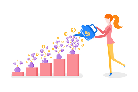 Woman showering money plant in vase, rising steps, finance strategy. Female side view, holding watering can, investment progress, management vector