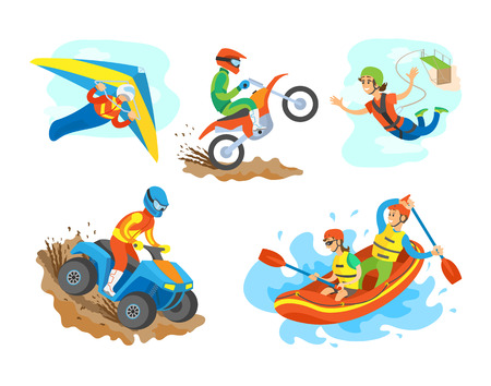 Extreme sports set vector, man riding a quad bike male on motorcycle. Woman bungee jumping, hang gliding person and water rafting hobby summer hobby Ilustrace