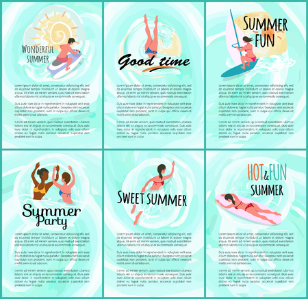 Summer time vector, people relaxing in water woman laying on surfboard, surfing and windsurfing, man sitting on water bike motor transport swimming friends Illustration