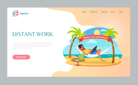 Freelance or distant work webpage, man in sunglasses lying on hammock with laptop, table with tropical cocktail and phone, freelancer on beach vector. Website template, landing page flat style