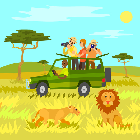 Wildlife and nature, wild animals vector, people riding in jeep car. People traveling to Africa African countries looking through binoculars, flat style
