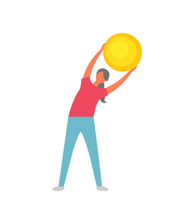 Woman holding fitness ball vector, female wearing sportswear improving flexibility. Slim lady doing exercises for healthy lifestyle, athlete with bauble Illustration
