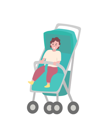 Child sitting in stroller isolated cartoon baby. Toddler in walking carriage, vector young kid in strap. Perambulator transportation item for infants Standard-Bild - 123798829