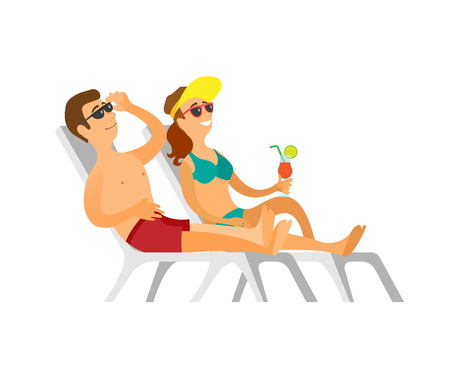 Couple lying on chaise lounge, man in shorts and woman wearing swimsuit sunbathing, smiling person drinking cocktail, people in sunglasses vector