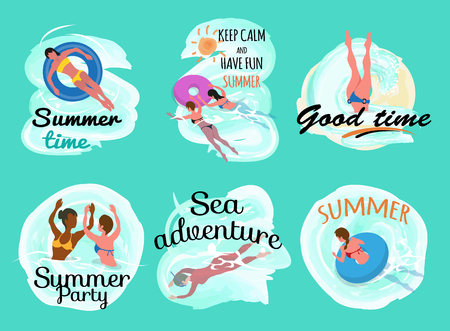 Summer time sea adventures vector, people having good time swimming and playing games. Person in water, lifebuoy saving ring and lady laying on it