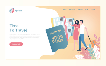 Time to travel of man and woman going with bag, passport and fly tickets. Webpage with people going on journey, business trip or vacation, online agency vector Ilustrace