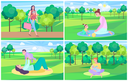 Mother with kid vector set, mom walking in forest carrying newborn child. Woman feeding baby, trees and green lawns, playing mum fair weather outdoors