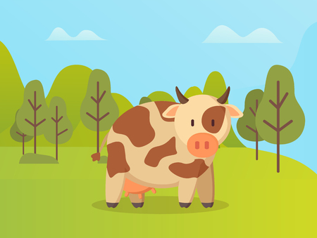 Spotted cow standing on green grass vector cartoon animal on background of green trees. Vector beef in spring forest, cute childish kine neat outdoors