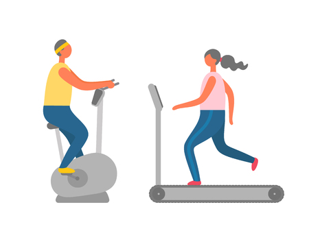 Woman running on treadmill, man on exercise bike, cardio training, side view of people in sportswear, modern sporty equipment, athletic human vector Ilustração