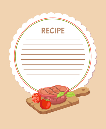 Food ingredients on wooden board recipe menu template. Vector grilled meat with vegetables, sausages and tomatoes with basil leaves, bbq nutrition meal