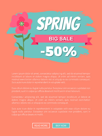 Spring big sale 50 percent off promo label with pink gentle flower. Vector webpage or website template, text sample and springtime special offer on orange