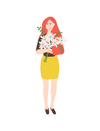 Leaves and flowers in bouquet vector, isolated woman holding daisy with leather fern filling. Female happy to get gift on international womens day