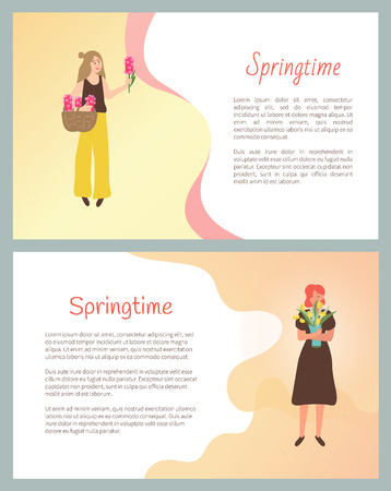 Springtime poster, girls happy to receive flowers on international holiday vector. Woman holding bouquets in hands. Romantic gift on womens day floral present