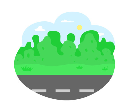 Empty road of city, bushes and trees vector. Greenery of nature, landscape with clear sky with shining sun, summer adventures trip on path highway Illustration