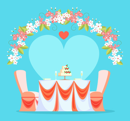 Restaurant wedding reception vector, table and chairs decorated with bows and fabric. Arc made of flowers and foliage, blossom and heart love party