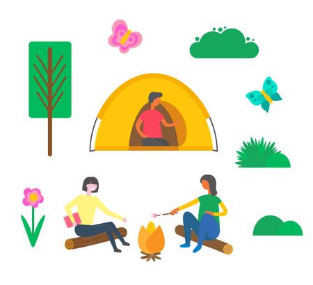 Camping people man sitting in tent vector, women melting marshmallow outdoors. Friends spending time on nature, trees and flowers in bloom, butterfly