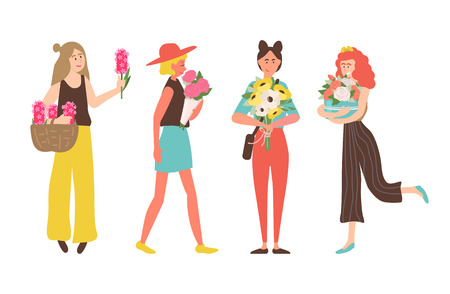 Girls on international womens day vector, woman holding bouquets given on holiday. Person wearing stylish clothes, female with daisy and roses in box