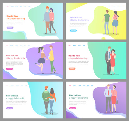 How to build happy relationship vector, people in love walking on date, calm relaxed man and woman cuddling and expressing deep feelings. Website or webpage template, landing page flat style