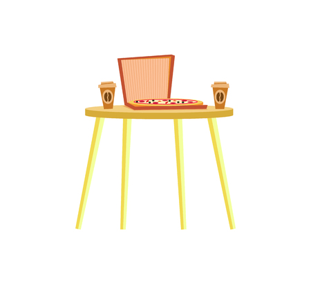 Simple urban table, serving italian pizza in paper box and disposable cups of coffee. Yellow board with fast food and caffeine isolated, furniture vector Ilustrace