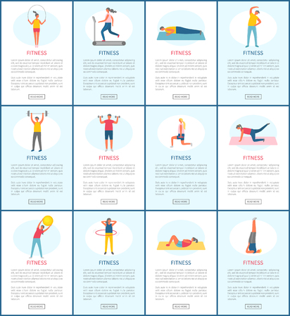 Fitness webpage set, strong people pumping muscles and lose weight, portrait view of people doing exercise, website of healthy lifestyle and sport vector Standard-Bild - 123798849