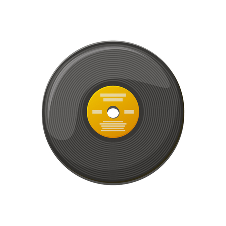 Plate for playing music on gramophone, scratching disk, old-fashioned circle object for turntable soundtrack. Black vinyl record, audio equipment vector
