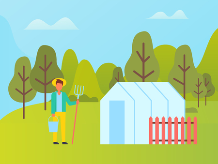 Farmer with fork near greenhouse with red fence. Vector country man in straw hat with bucket in hands at landscape of green trees, summer or spring season