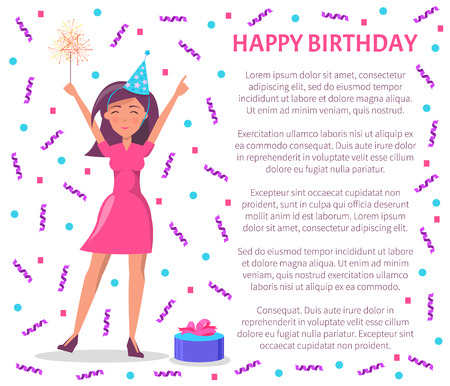 Woman with stretched hands happy to have party vector. Poster with text, flying confetti and present with decorative bow in box. Gift for lady wearing cap Archivio Fotografico - 123798854