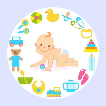 Child in good mood vector, kid crawling,  holding toy. Plush bear and train, duck and bottle with milk for feeding, pins with hearts and bowl with meal