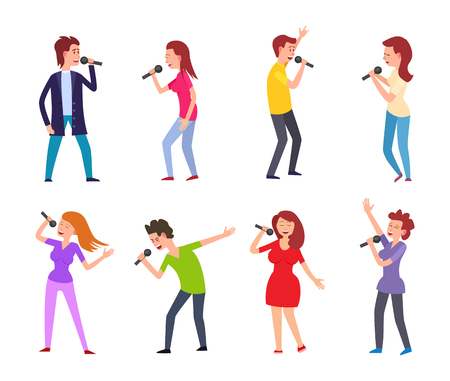 Music singers male and females performers set vector. People singing for leisure and entertainment, man and woman dancing and holding microphones Иллюстрация