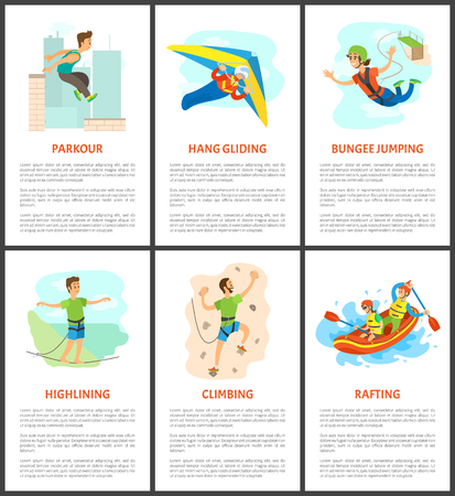 Highlining and parkour vector, bungee jumping and climbing, wall climbing poster with text sample. Adults hang gliding person holding balance flat style Иллюстрация