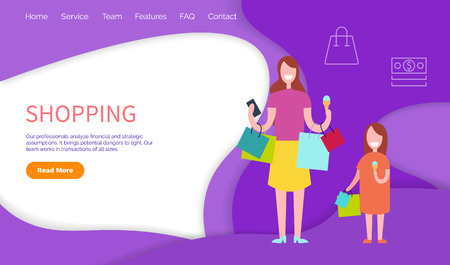 Shopping, woman and daughter with packs. Our professionals analyze financial and strategic assumptions. Work of team in transaction of all sizes, vector
