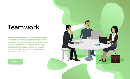 Business cooperation and teamwork website page vector. Businessman and businesswoman in office suits at round table with laptops and tablet, work in team