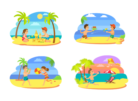 Summer activity set of teenagers on beach, playing volleyball, running with kite and squirts, making sand castle. Portrait view of children vector Illustration
