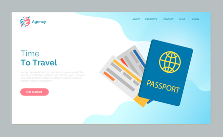 Time to travel vector, international passport id document and board tickets on flight. Exploration of world diversity and adventures on vacation. Website or webpage template, landing page flat style Ilustrace