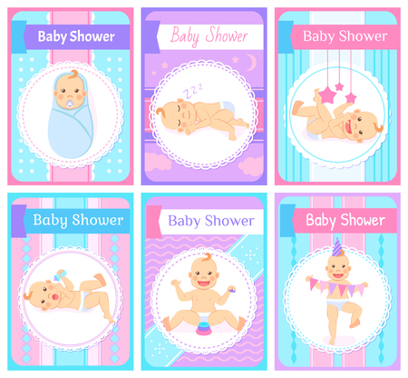 Baby shower vector, kids having happy childhood flat style. Flags and celebration elements, sleeping kiddo, character wearing paper hat, cards set 向量圖像