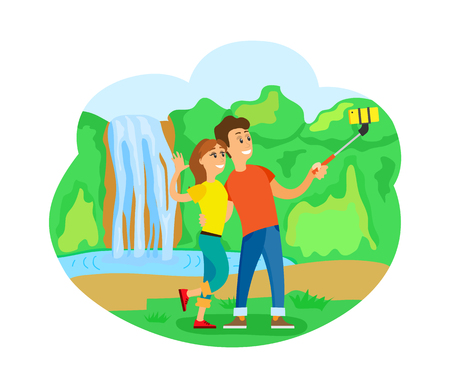 Romantic trip or journey, travelers couple at waterfall taking selfie vector. Man and woman with smartphone, wild nature, world exploration, traveling 向量圖像