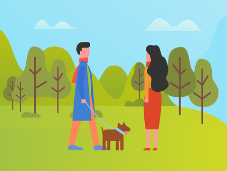 Man and woman spending time outdoors vector. Couple walking with dog, park with green lawns and grass, trees and foliage. Nature in summer and spring