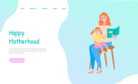 Happy motherhood, woman sitting with daughter on chair and reading book together, portrait view of smiling mother and child holding book vector. Website or webpage template, landing page flat style Illustration